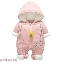 冬季婴儿连体衣秋冬0-3-6个月新生儿衣服0一1岁满月宝宝冬季外出抱衣秋冬新款