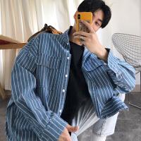 韩版休闲蓝色条纹衬衫男18春季薄款男士牛仔衬衣宽松外套