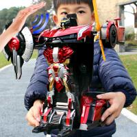 机器人充电动男孩儿童玩具 遥控变形车感应变形汽车金刚无线遥控车