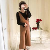 孕妇装2018秋装新款套装两件套孕妇上衣连体托腹背带阔腿裤潮