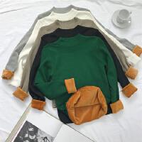 秋冬季韩板休闲百搭半高领加绒加厚打底衫修身长袖套头毛衣女上衣