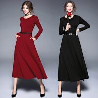 红色过膝长裙长款连衣裙秋冬季新款收腰修身长袖打底裙女裙子