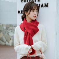 兔毛球球围巾秋冬女学生日系小清新可爱百搭软妹保暖围脖针织