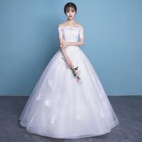 轻婚纱礼服2018新款一字肩拖尾新娘结婚公主甜美梦幻前短后长森系