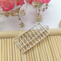 925银算盘 珠子会动孩子儿童银饰品饰品DIY配件挂件 纯银算盘吊坠