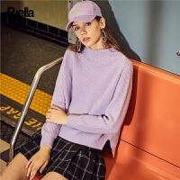 拉夏贝尔纯色套头毛针织衫女秋冬新款韩版学生圆领长袖慵懒风上衣外穿