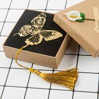 【蝶梦】古典流苏中国风金属书签蝴蝶玫瑰不锈钢文创礼品