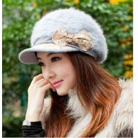 冬季帽子 女韩版潮时尚可爱兔毛帽针织毛线帽 秋冬天女帽子