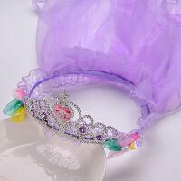 儿童头饰宝宝发卡发饰头箍头纱女童花环发箍头花女孩头饰 紫色 款