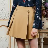 三彩2017冬装新品 高腰修身半身裙A字羊毛呢子短裙女D742203Q20