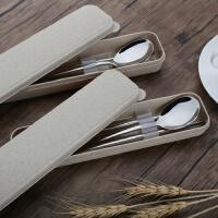 304不锈钢筷子勺子套装餐具三件套学生创意可爱便携盒