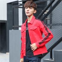 新款秋季牛仔衣男外套修身韩版帅气青年学生潮流条纹休闲夹克上衣