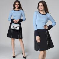 连衣裙两件套装秋冬新款明星高圆圆同款撞色针织衫亮片开叉半身裙