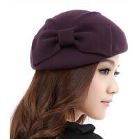 时尚优雅羊毛帽 贝雷帽子女韩版潮女秋冬天英伦毡帽新款