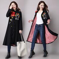 2017春装新款 民族风女装大衣 刺绣拼接中长款 中国风风衣外套女