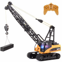 新款儿童玩具车遥控合金版履带吊车吊机模型玩具男孩合金起重机遥控履带电动工程车儿童节日礼物 合金版起重吊车