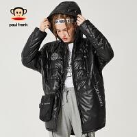 [商场同款]Paul Frank/大嘴猴棉服短款女连帽加厚保暖棉衣女