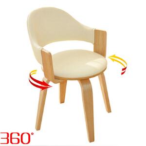 幽咸家居 办公椅 电脑椅子 书房实木腿电脑转椅 带扶手 休闲欧式餐椅 木质腿旋转椅
