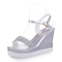 夏季新款高跟坡跟凉鞋女防水台平底水钻超高跟厚底松糕女鞋子