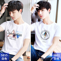男士短袖T恤圆领夏季新款体恤宽松半袖上衣服韩版男装潮流打底衫