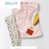 品牌童装儿童夏装 新款中小女童纯棉卡通T恤碎花打底长裤套装