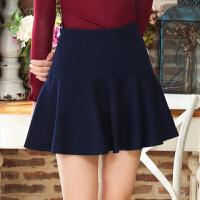 冬装新品 毛呢短裙羊毛半身裙A字荷叶边裙女S640106Q20