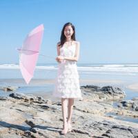 2018夏季新款女装韩版性感吊带流苏羽毛海边度假沙滩裙超仙连衣裙 白色