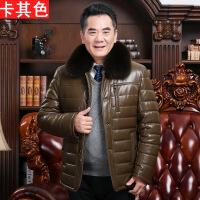 中老年皮棉衣男加绒加厚老人PU皮棉袄中年爸爸装羽绒冬装外套