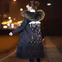 羽绒服女中长款2017新款冬季韩版彩色超大毛领潮长款过膝外套