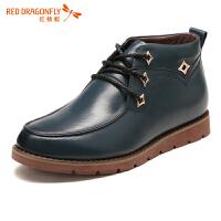 红蜻蜓鞋系带商务休闲高帮鞋防滑短靴男鞋