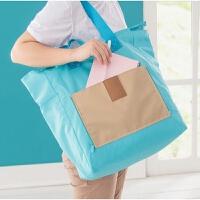 短途旅行包折叠包购物袋帆布手提女包单肩包大容量拉杆行李箱包 天蓝色 大