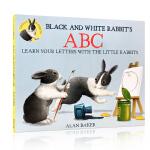 顺丰发货 英文原版 Black and White Rabbit's ABC 黑色和白色的兔子的ABC 平装绘本3-6