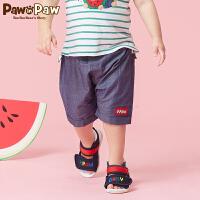 【3件3折 到手价:107】Pawinpaw卡通小熊童装夏男宝宝棉质五分裤婴幼儿大PP裤两用裆