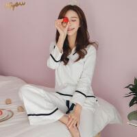 睡衣女春秋季纯棉长袖套装女士韩版甜美可爱学生休闲家居服可外穿