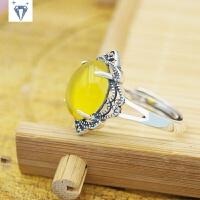 小黑银饰品厂家手工定制�v玉髓戒指 复古活口马克赛银戒指 黄色