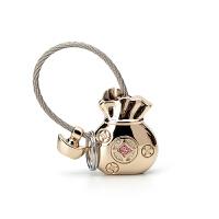 可爱情侣男女士汽车钥匙链环钥匙圈创意礼品挂件 金属钥匙扣