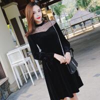 黑色性感丝绒打底连衣裙秋冬季新款女中长款18-24岁内搭裙子