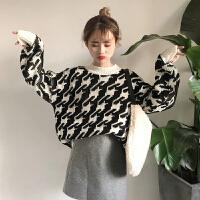 圣诞毛衣女装冬季2018新款韩版学生宽松千鸟格套头加厚针织衫上衣