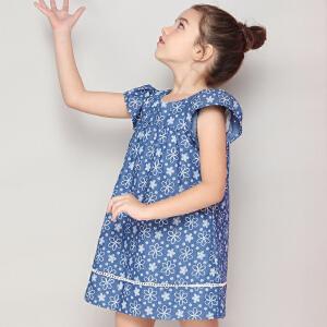 米奇丁当女童A字连衣裙洋气夏装2018新款儿童中大童短袖短袖裙子