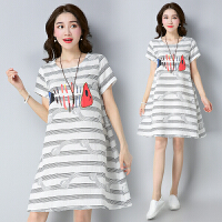 【仅限今日,满100减50】新款原创大码韩版宽松条纹印花棉麻连衣裙女