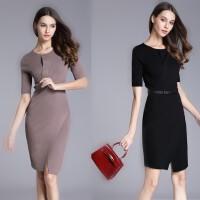 欧洲站女装春夏新款纯色修身时尚显瘦中长款连衣裙