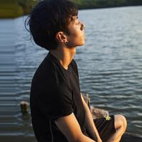 【21-22限时秒杀价:39】GXG短袖T恤男装 夏季男士青年潮流时尚黑白打底衫都市舒适圆领T恤