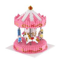 拼装微小颗粒拼接积木钻石玩具兼容乐高女孩旋转木马摆件儿童节礼物 HC1014旋转木马 现货