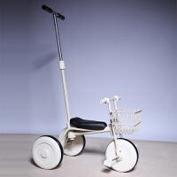 儿童三轮车脚踏车小孩自行车简约无印宝宝推杆手推童车1-3岁 白+前框(推杆)加厚版 送