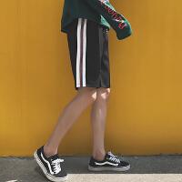 风时尚夏季休闲短裤男士青年条纹五分运动松紧松紧腰沙滩裤