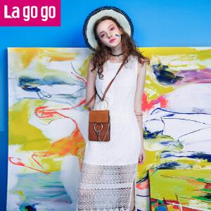 Lagogo/拉谷谷2016年夏新款纯色圆领中长款流苏连衣裙