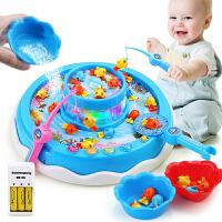 儿童钓鱼玩具池套装男孩女孩3-6岁宝宝小猫电动钓鱼小孩玩具