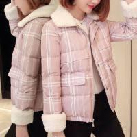 2018冬新款韩版条纹印花时尚女士羽绒服短款羊羔毛领外套显瘦 粉底条纹