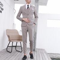 男士西装男套装修身韩版英伦风一套帅气潮流正装结婚礼服小西服男 三件套