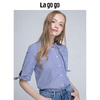 【领�幌碌チ⒓�120元无门槛优惠券】Lagogo/拉谷谷2019年夏季时尚学院风立领条纹衬衫HACC325F23